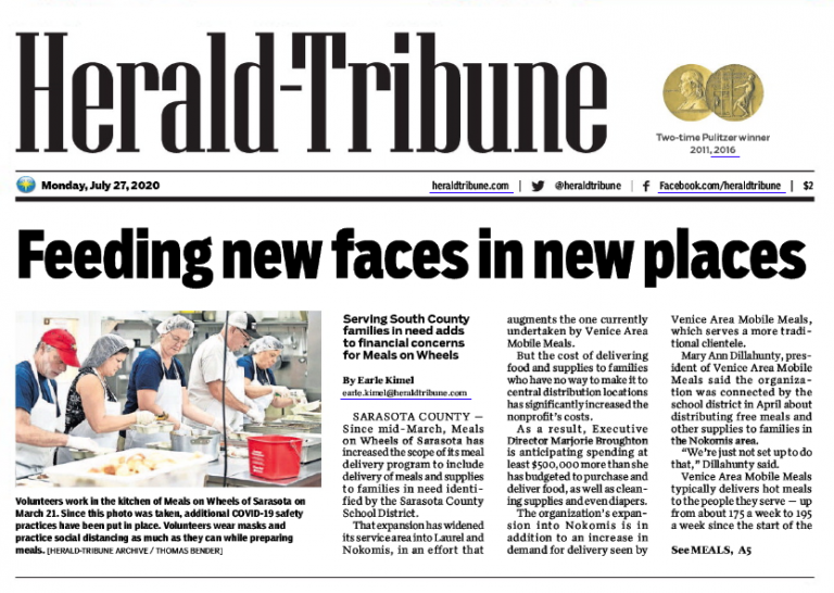Herald-Tribune Article Preview: https://grapevinepublicrelations.org/pandemic-deliveries-stretch-resources-at-meals-on-wheels/